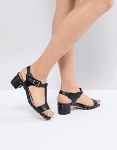 Черные кожаные босоножки на каблуке с заклепками Dune - Черный