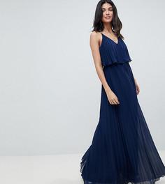 Плиссированное платье макси ASOS DESIGN Tall - Темно-синий