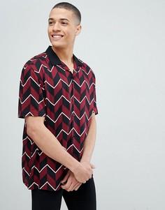 Оversize-рубашка с отложным воротником и шевронообразными полосками ASOS DESIGN - Красный