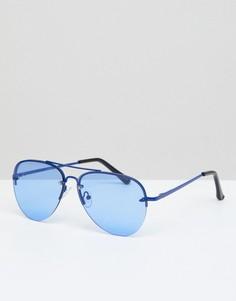 Синие металлические очки-авиаторы с синими линзами ASOS DESIGN - Синий