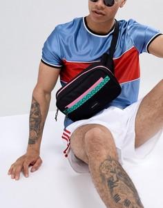 Черная фестивальная сумка-кошелек на пояс с сетчатым карманом и неоновой отделкой ASOS DESIGN - Черный