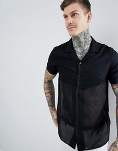 Рубашка классического кроя с отложным воротником и прозрачной вставкой ASOS DESIGN - Черный