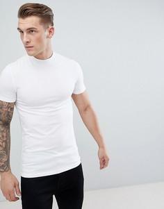 Обтягивающая футболка с высоким воротом ASOS DESIGN - Белый