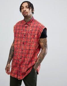 Рубашка без рукавов в клетку с эффектом кислотной стирки ASOS DESIGN - Красный
