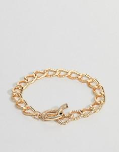 Золотистый браслет-цепочка со змеей ASOS DESIGN - Золотой