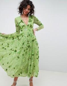 Платье миди с V-образным вырезом и отделкой ASOS EDITION - Зеленый