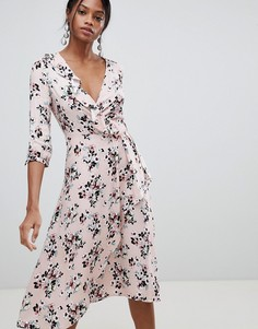 Платье миди с запахом и цветочным принтом Liquorish - Розовый