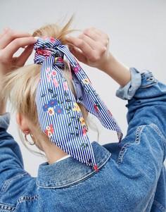 Головной платок в полоску с цветочным принтом ASOS DESIGN - Мульти