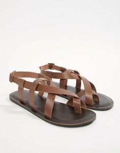 Светло-коричневые кожаные сандалии ASOS DESIGN - Рыжий