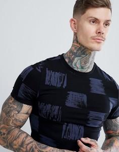 Обтягивающая футболка с принтом ASOS DESIGN - Черный