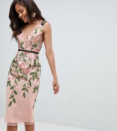 Платье-футляр миди с цветочной вышивкой ASOS DESIGN Tall - Мульти