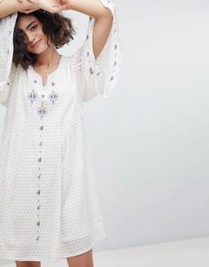 Платье-туника с отделкой и рукавами клеш Intropia - Кремовый