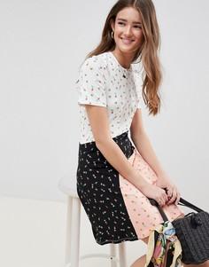 Платье-футболка в стиле колор блок с принтом ASOS DESIGN - Мульти