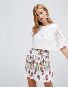 Мини-юбка с принтом роз и складками ASOS DESIGN - Мульти