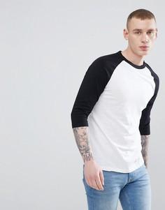 Черно-белая футболка с рукавами реглан длиной 3/4 New Look - Черный