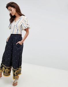 Широкие брюки с вышивкой River Island - Темно-синий