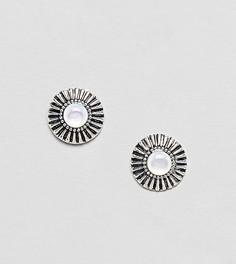 Серебряные серьги с гравировкой и камнями ASOS DESIGN - Серебряный