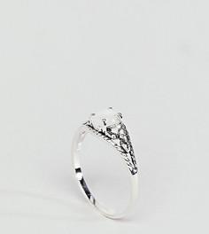 Серебряное кольцо с гравировкой и искусственным лунным камнем ASOS DESIGN - Серебряный