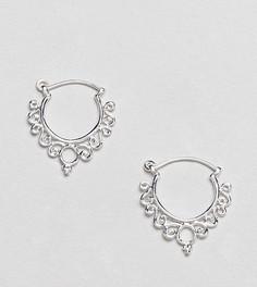 Серебряные серьги-кольца с резным узором ASOS DESIGN - Серебряный
