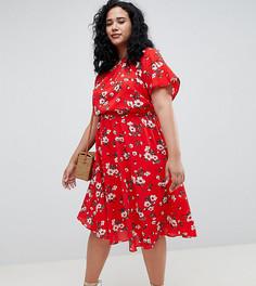 Шифоновое платье миди с цветочным принтом Boohoo Plus - Красный