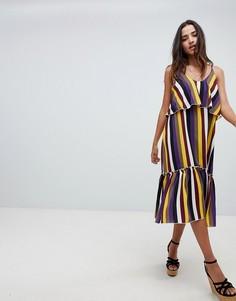 Свободное платье с броской полоской и оборками по краю Boohoo - Мульти