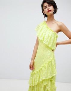 Платье макси с оборками и пайетками ASOS DESIGN - Зеленый