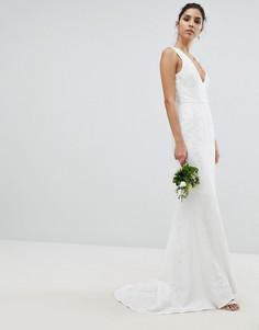 Кружевное платье макси Chi Chi London - Белый