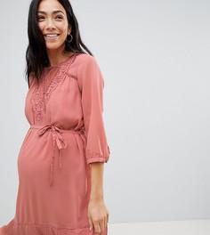 Платье для особых случаев с оборками по краю Mamalicious - Розовый Mama.Licious