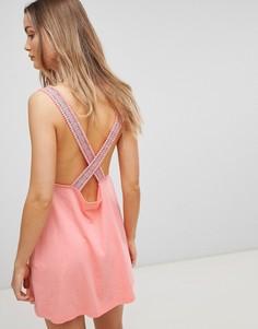 Коралловое трикотажное пляжное платье свободного кроя с отделкой ASOS DESIGN - Оранжевый