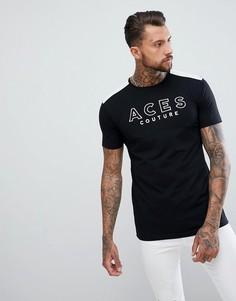 Обтягивающая черная футболка Aces Couture - Черный