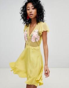 Платье мини с оборками и цветочной вышивкой Cleobella - Желтый