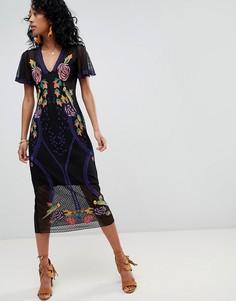 Кружевное платье миди с цветочной вышивкой Cleobella - Черный