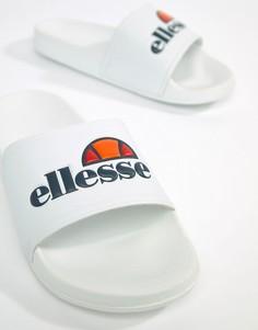 Белые шлепанцы с крупным логотипом ellesse - Белый