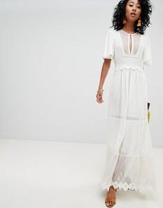Платье макси с сетчатыми вставками и кружевной отделкой Cleobella Boho - Белый
