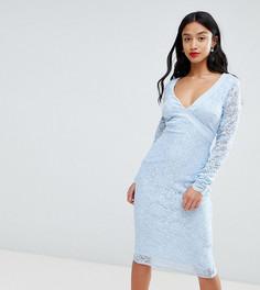 Платье-футляр с длинными рукавами и открытой спиной City Goddess Petite - Синий