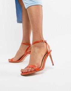 Оранжевые босоножки на каблуке с отделкой под змеиную кожу River Island - Оранжевый