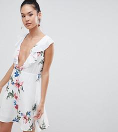 Платье мини с глубоким вырезом и цветочным принтом Boohoo - Белый