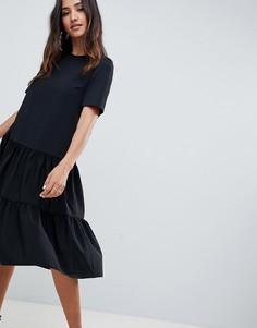Свободное ярусное платье миди ASOS DESIGN - Черный