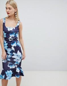 Облегающее платье с цветочным принтом, поясом и квадратным вырезом Lipsy - Темно-синий