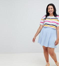 Короткая расклешенная юбка ASOS DESIGN Curve - Синий