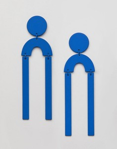 Синие серьги-подвески с геометрическим принтом Missguided - Синий
