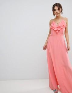 Платье макси с оборкой New Look - Оранжевый