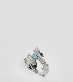 Серебристое кольцо с камнем и листьями эксклюзивно для ASOS DESIGN Curve - Серебряный