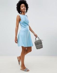 Короткое приталенное платье ASOS DESIGN - Синий