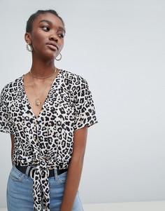 Рубашка со звериным принтом New Look - Коричневый