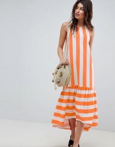 Платье макси в полоску со спинкой-борцовкой и асимметричным краем ASOS - Мульти