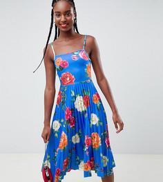 Платье миди для выпускного на бретельках с плиссировкой и цветочным принтом ASOS DESIGN Tall - Мульти