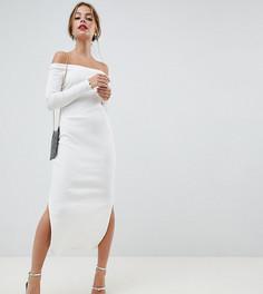 Платье миди в рубчик ASOS DESIGN Petite - Белый
