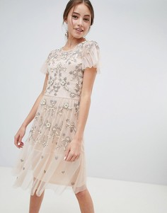 Платье миди со сплошной отделкой Miss Selfridge - Розовый