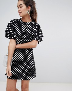 Чайное платье из ткани добби в горошек New Look - Мульти